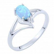 Серебряное кольцо Эльмира с голубым опалом и цирконием