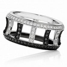 Кольцо Argile-F с белыми и черными бриллиантами