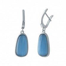 Серебряные серьги-подвески Менуэт с синим кошачьим глазом