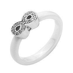 Кольцо из белой керамики и серебра с фианитами 000131774