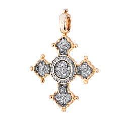 Серебряный крест с позолотой и чернением 000020934