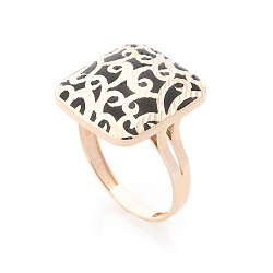 Золотое кольцо Ребекка с черной эмалью