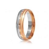 Золотое обручальное кольцо Геометрия нашего счастья в комбинированном цвете металла