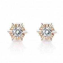 Серьги-пуссеты Маленькая звезда в красном золоте с бриллиантами, 0,3ct