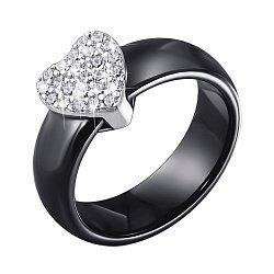 Кольцо из черной керамики и серебра с фианитами 000140150