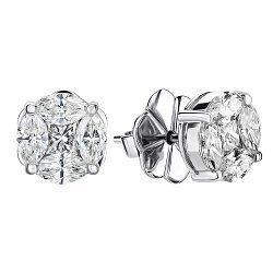 Серьги-пуссеты из белого золота с бриллиантами 000146195