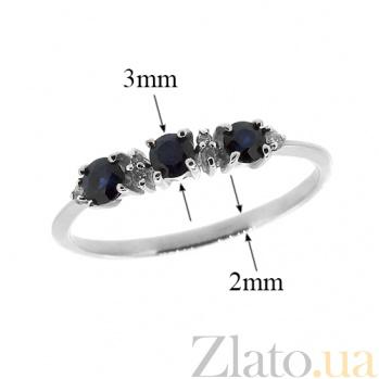 Серебряное кольцо с бриллиантами и сапфирами Сандра ZMX--RDS-6658-Ag_K
