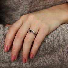 Серебряное кольцо Стайп с черным и белыми фианитами