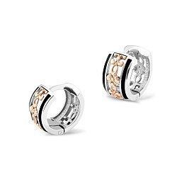 Серебряные серьги-колечки Азария с золотыми накладками, черной эмалью и родием