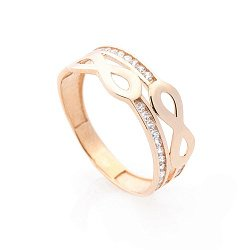 Золотое кольцо Шантарам с двойной шинкой, символами бесконечности и белыми фианитами