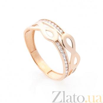 Золотое кольцо Шантарам с двойной шинкой, символами бесконечности и белыми фианитами 000082407
