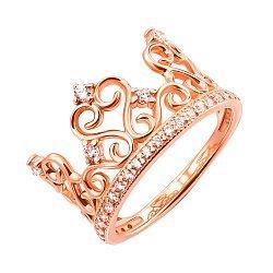 Кольцо-корона из красного золота с фианитами 000119342