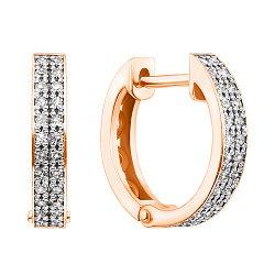 Золотые серьги-колечки Дора в комбинированном цвете с бриллиантами