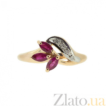 Кольцо из красного золота с рубинами и бриллиантами Валия ZMX--RR-9002_K