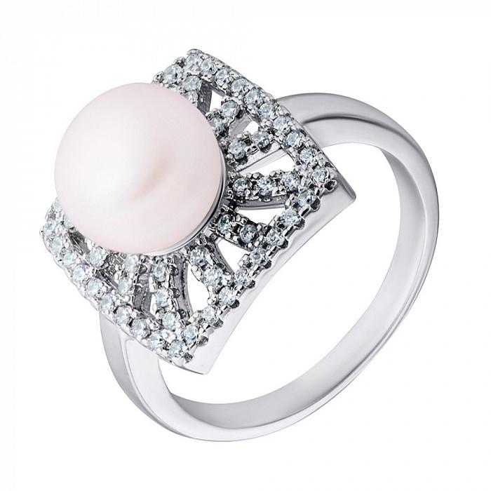 Серебряное кольцо с жемчугом и фианитами 000132564 000132564