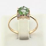 Золотое кольцо Ванда с синтезированным аметистом и фианитами