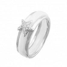 Кольцо из белой керамики и серебра Звезда в усыпке фианитов