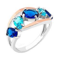 Серебряное кольцо с золотыми накладками и синими и голубыми альпинитами 000082128