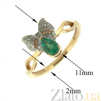 Золотое кольцо с бриллиантами и изумрудом Бонна 000021382