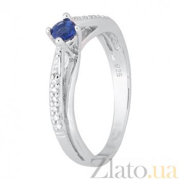 Серебряное кольцо с синим фианитом Балет 000028161