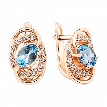 Серьги из красного золота с голубыми топазами и фианитами 000131053