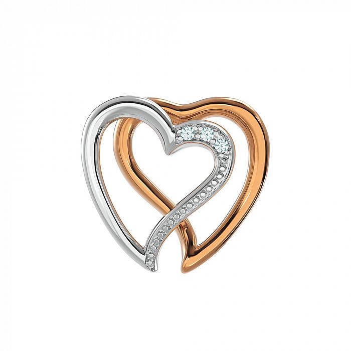 Золотая подвеска Любовь в комбинированном цвете в форме сердечек с бриллиантами VLA--31600