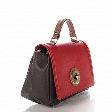Кожаная деловая сумка Genuine Leather 7807 красно-бордового цвета с клапаном на застежке