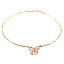 Золотой браслет на ногу Бабочка