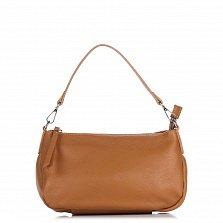 Кожаный клатч Genuine Leather 1526 коньячного цвета с короткой ручкой и застежкой-молнией