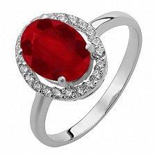 Серебряное кольцо Эйвис с имитацией рубина и фианитами