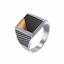 Серебряный перстень Атлант с ониксом и золотой вставкой