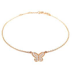 Золотой браслет на ногу Бабочка 000035481