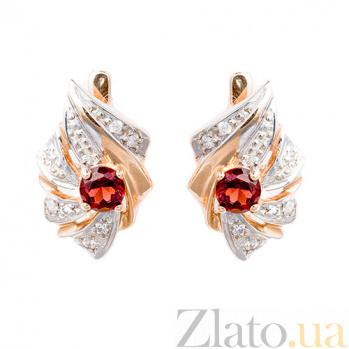 Золотые серьги с бриллиантами и гранатами Прима ZMX--EGn-5008_K