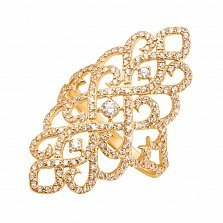 Золотое кольцо на всю фалангу Княжна в желтом цвете с фианитами