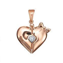 Открывающаяся подвеска из красного золота с фианитом и эмалью 000134329