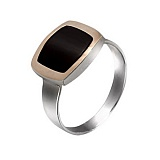 Серебряное кольцо Классика с золотой вставкой и ониксом
