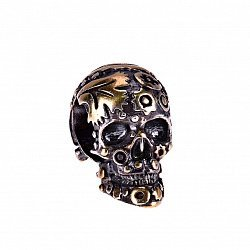 Кулон-шарм из серебра Таинственный череп в узорах