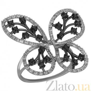 Кольцо из белого золота с фианитами Крылья бабочки VLT--ТТ1114
