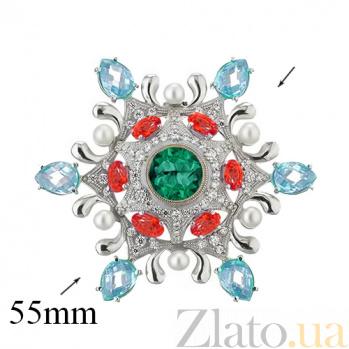 Серебряная брошь с фианитами и жемчугом Цветик-семицветик 000032272