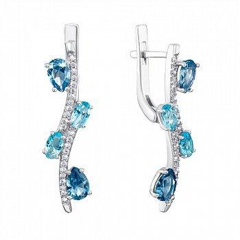 Серебряные серьги с кварцем под лондон топаз, голубым кварцем и фианитами 000063651