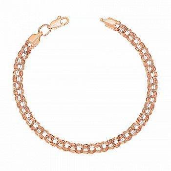 Золотий браслет комбінованого кольору в плетінні бісмарк 000123710