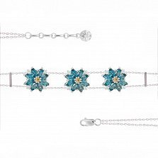 Серебряный браслет Луговые ромашки с топазами и цитринами