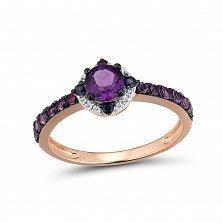 Золотое кольцо Аделика в красном цвете с бриллиантами, сапфирами и аметистами в черных крапанах