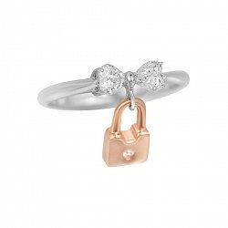 Серебряное кольцо Бант с подвеской-замочком, фианитами и позолотой