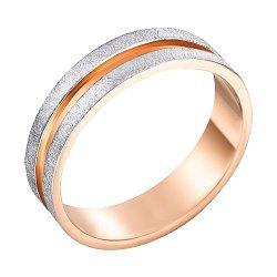 Золотое обручальноекольцо Вместе навсегда в комбинированном цвете с матовой поверхностью