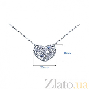 Колье из серебра с цирконами Сердце AQA-XJT-0023-N