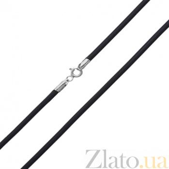 Шнурок из каучука с серебряной застежкой Дионисий, 2.5 мм 10210001