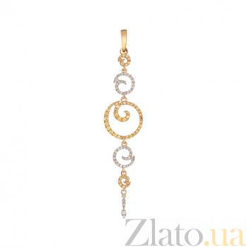 Кулон из желтого золота с фианитами Юнона VLT--ТТТ3429