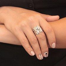 Серебряное ажурное кольцо Ромашки с розовыми опалами