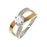 Серебряное кольцо Самба с золотой вставкой